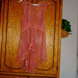 Maurices Pink Lace Sheer Vest with Tassel Tie